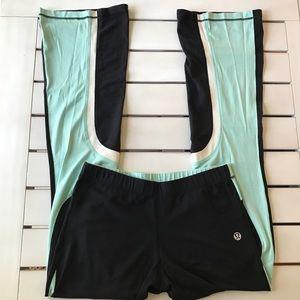 Lululemon Yoga Pants Sz 12 Tall Black Mint